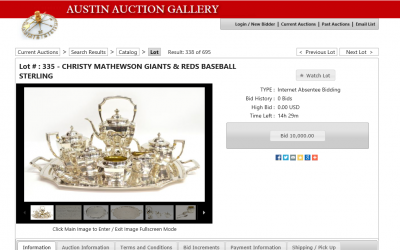 Austin Auction Christy Mathewson